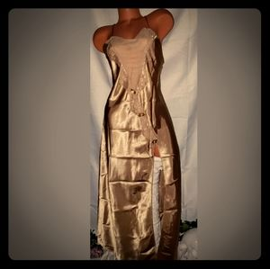 Vtg Liquid Gold High Slit Rose